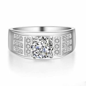 100% Solid 925 Sterling Silver Ring Crystal CZ Zircon Men Ring Wedding Designs For Men Fine Men Jewelry