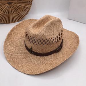 HuKaiLi los sombreros de paja de cuero de las mujeres de los hombres del sombrero de vaquero occidental para el papá del caballero del sombrero Señora Hombre Caps Jazz sombreros