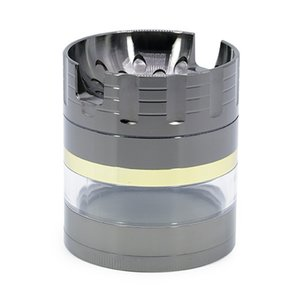 Herb Grinder 7 Colors 4layers 63mm Zinc Alloy Metal Herbal Grinders Groove bracket Concave Transparent Open Window Can Put The Phone