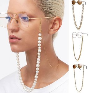 2020 Chic Link Chain Pearl Beads Glasses Chains For Women Metal Sunglasses Cords Casual Cuban Chunky Sunglasses Necklace Jewelry sggHQ