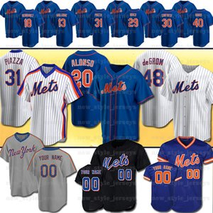 20 Pete Alonso 2020 neue Mets Baseball-Trikot-48 Jacob deGrom Darryl Strawberry Keith Hernandez Dwight Gooden 31 Piazza Jersey