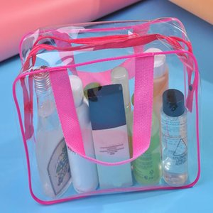 Storage Bag Washing Cosmetic Beauty Box Transparent Pvc 3pcs set Zipper Casual Letter Multifunctional Clyine