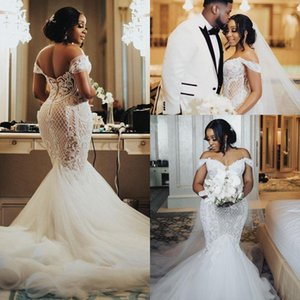 Sexy Mermaid Wedding Dress Long Robe de mariage 2020 Plus Size off Shoulder African arabic Lace Castle Garden Bride Reception Wedding Gown