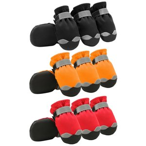 4pcs lot Waterproof Fabric Pu Leather Winter Dog Shoes Outdoor Sport Shoes Protect Not To Hurt For Small Medium Large Dogs