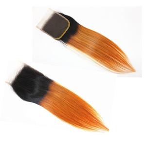 H A Ombre Color 4x4 Hair Closure Straight Remy Hair Brazilian Indian Malaysian 100 %Virgin Human Hair 8 -20inch