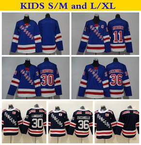 2018 Kış Klasik Gençlik New York Rangers 30 Henrik Lundqvist 36 Mats Zuccarello 11 Mark Messier Hokeyi Formalar Çocuk Boys Dikişli Forması