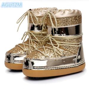 AGUTZM зимних ботинки снега с блестками шнуровка сапог женских лыжным пространства зима теплая и бархатной пространство большого размера A309