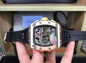 베스트셀러 남성 클래식 슈퍼 7750 티타늄은 바닥 커버 운동 크로노 그래프 자동 블랙 고무 시계를 통해 금을 위로 전화