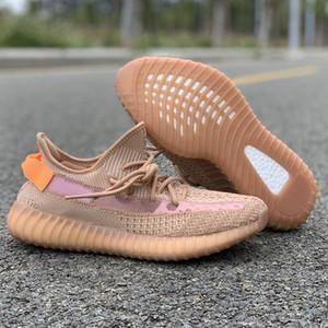 Kanye West Bulut Beyazı Siyah Sarı Refective Yecheil Kil Statik Koşu Ayakkabı Tasarımcısı Gerçek Formu Üst Kalite Casual Sneakers Womens