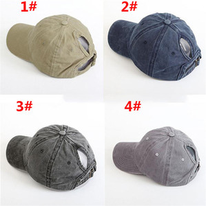 Washed Ponytail Baseball Cap Adjustable Curved Summer Female Hat Outdoor Beach Snapback Hat Free Shipping DC132
