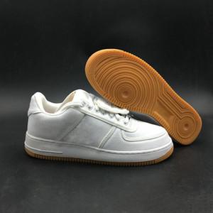 Nave con la caja Travis Scott 1 bajo Uno de Vela de la goma marrón claro Hombre de baloncesto zapatos de diseño de la manera popular monopatín Formadores mejor calidad