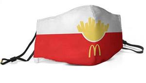 Hombres Mujeres mascarilla de polvo Máscara de mufla deliciosa hamburguesa de McDonalds OOD imprimió con Oreja Ajustable máscara de gancho