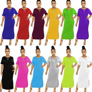 Women summer casual dress one piece set sexy split solid plus size dresses party evening club dress fashion slim summer dress klw4015