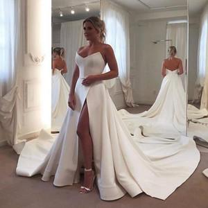Vestido de Novia Una linea abiti da sposa senza spalline scollo a cuore senza maniche spacco abiti da sposa corpetto sposa abito formale