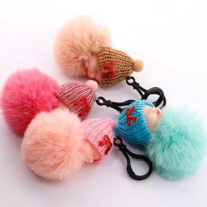 Cute dormire Baby Doll Portachiavi soffice pelliccia Pompon Keychain Bag Pendenti Portachiavi portachiavi favore di partito LJJA3773
