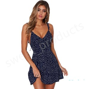Women's Lace-up Back Dresses Summer Dots Print Wavy Gallus Slip Dress OutdoorSandbeach Seaside Irregularity Zipper Hollowed-out Dress LY323