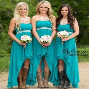 2020 Cheap País dama de honra vestidos longos chiffon Querida Alta Baixa casamento frisada Visitante Bridesmaids vestido empregada doméstica honra Vestidos