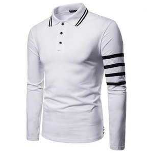 Designer Polos Fashion Buttons Panelled Lapel Neck Mens Polos Casual Long Sleeve Males Clothing Stripe Panelled Mens