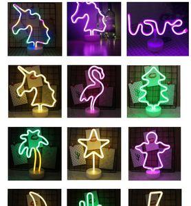 Tipo Batterry USB + arco-íris Led Neon Light Cadastre decorações do casamento Xmas Holiday Party Crianças quarto Home Decor Flamingo Lua Unicorn lâmpada de néon
