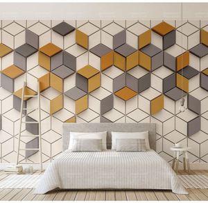 Geometry 3D Joint Mosaic Wallpaper Murale 3d Foto murale per camera da letto Sfondo 3d Stone Mosaic Wall paper 8d Murales