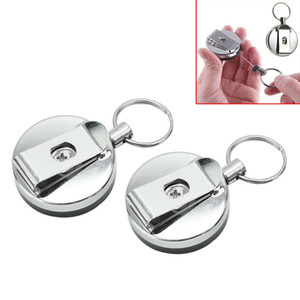5pcs Key Chain Recibil Extendable Metal Wire Wring Clip Pull Keyring Retracting Keychains For Bag Key Decor Clip Card