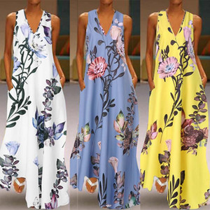2020 Fashion Summer Sundress Women Long Maxi Vestidos Floral Printed Bohemian Dress Ladies عادي Pockets Long Tunic Robb