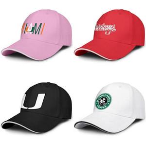 Miami Hurricanes Starbucks Grün Baseball verstellbare Sandwich Hut Golf Retro Team Kappe Fußball schwarz-Logo Marmor drucken Mesh-Effekt Flagge