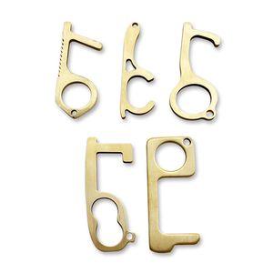 سلامة EDC سلسلة المفاتيح فتحت باب من النحاس الأصفر لون الذهب الجوف النظافة أداة مصعد عدم الاتصال الادوات 5 أنماط 4 8LY E19