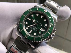 40mm otomatik 3130 2836 3135 temiz v3 cerachrom seramik çerçeve erkekler izle 114060 116610 ZZ ZZF en kaliteli yeşil Hulk siyah alt