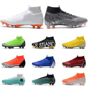 Nike Mercurial Superfly VI 360 Futbol Ayakkabıları FG siyah altın beyaz kırmızı sarı yeşil Ronaldo Neymar Athletic Erkek Boys Futbol Boots Cleats boyutu 39-45