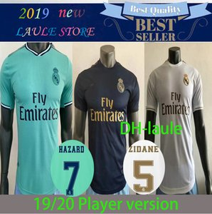 Player Version Real Madrid 2020 #7 HAZARD #9 BENZEMA home Soccer Jerseys 19 20 Men away blue #8 KROOS #16 JAMES 3rd green Football Uniforms