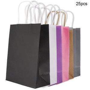 25 PCS Pack Gift Bags Kraft Packaging Handle Paper Storage Bag for Wedding Candy Favor Bag With Handle Gift With Handles