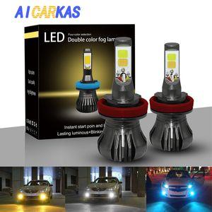 AICARKAS COB LED Auto Fog Lights Bulb H3 H11 H27 880 881 LED Double Color Car Fog Lamp White+Yellow White+Blue 12V 24V Day Light