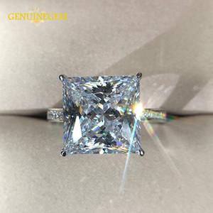 Jewepisode reale Silver Jewelry 925 12MM Piazza Creato Moissanite nozze anelli di fidanzamento per l'anello di San Valentino del partito delle donne regalo Y200321