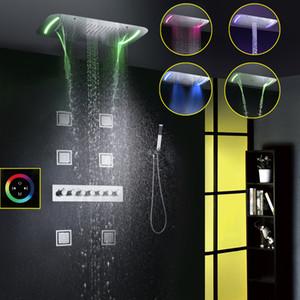 Banho Rain Shower Faucet Set Cachoeira Mixer Bath Shower Touch Panel de teto LED chuveiro cabeça Sistema banho termostático