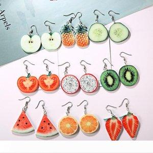 Fashion Fruit Earrings for Womens Girls Korean Creative Brief Dangle Ear Studs Earring Pineapple Watermelon Orange Strawberry Tomatoes