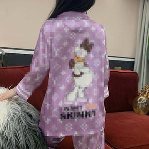 Bahar Güz Kadınlar pijamalar Son Baskılı Lady Lüks Pijama Takımı Klasik Harf Kadın İki adet Gecelik