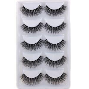Serie H 20 estilo 5 pares / set visón 3D False EyeLashes 5 Pairs 3D Natural Fake Eyelashes H17