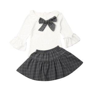 Pudcoco style preppy Vêtements de bébé fille Flare à manches longues Hauts Plaid Jupe Robe d'été en coton Vêtements pour enfants formelle Ensembles