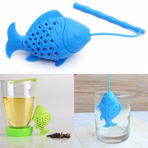 Balık Tasarım Food Grade Silikon Gevşek Tea Leaf demlik Bitkisel Baharat demlik Filtre Süzgeç Drinkware