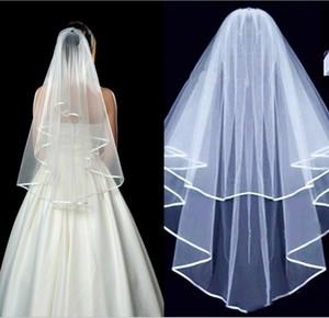 2020 Cheap duas camadas da fita Borda curta Tulle Brida Véu do casamento com pente Womens acessório do casamento