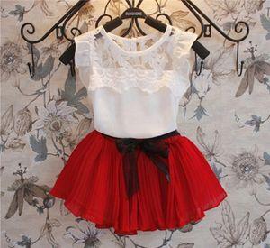 HOT Baby Girls Summer Chiffon Dress Suit Baby Girls Bowknot Pleated Skirt Clothing Girls Flying Sleeve Skirt Set Free Shipping
