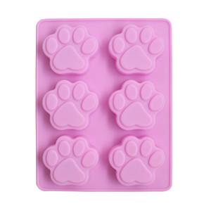 Ventas al por mayor 6 celosía jalea molde pata de gato jabón hecho a mano moldes de pastel de silicona envío gratis W9724