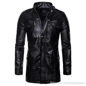 PU de la chaqueta de la manera del collar del soporte Negro Faux ocasionales de cuero para hombre de la motocicleta chaqueta de cuero para hombre del diseñador otoño