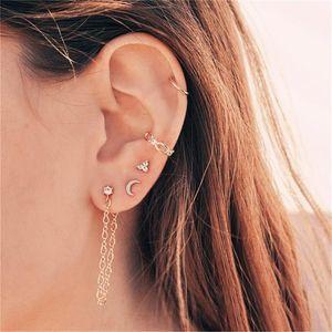YC-UPGO New Vintage Crystal Star Moon Chain Crown Earrings For Women Fashion Boho Earring Set Female Jewelry Wedding Gift