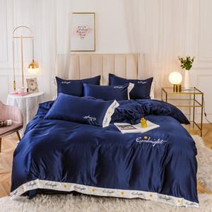 4pcs / set Verão Super Macio cama Set Legal Folha Wash Silk Fabric edredon cobrir Fronhas Lençois capa do edredon