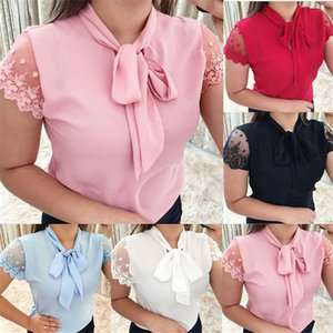 Lace Bow Women Tshirts Plus Size Summer Short Sleeve Solid Color Designer Ladies Tops Casual Loose Female Tees