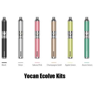 Neuesten Farben 100% ursprünglichen Yocan Evolve Starter Kit Wachsstift Vaporizer mit 0.8ohm Quarz-Dual-Spulen 650mAh Batterie Ego Gewinde Tank 2204020