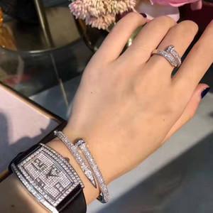 Estrella pulsera plateada con el oro 18K verdadera, pulsera de diamantes de uñas, uñas de diamante anillo de la placa de la marea japonés y coreano