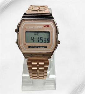 Relógio de Ouro rosa F-91W LED relógios Moda Ultra-fino digital LED Relógios De Pulso F91W Homens Mulheres relógio Esporte